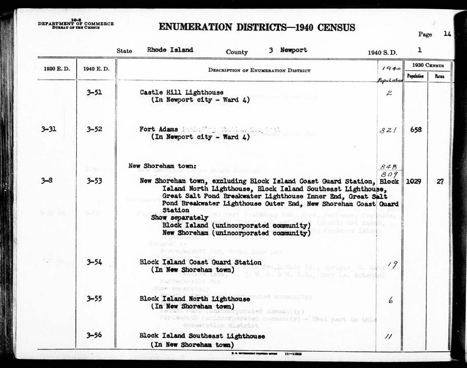 1940 Block Island Southeast Lighthouse Census