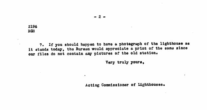 Acting Commissioner of Lighthouses' Letter