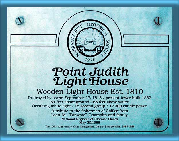 Tribute Plaque on Point Judith Lighthouse's Door